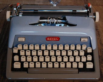 Vintage Royal Futura 800 Typewriter, 1960's, vintage blue, new ribbon, works great, very good condition, has been checked, cleaned and waxed