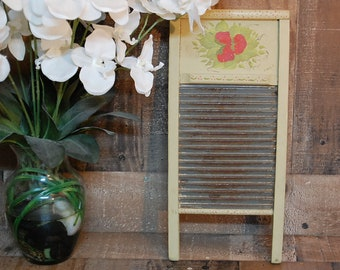 Vintage Star Washboard, hand painted 1930's wood and metal washboard, galvanized metal washboard, metal washboard decor