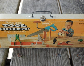Vintage Childs Metal Toolbox And Tools Circa 1950's