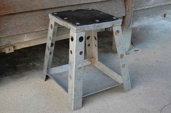 Fantastic Vintage Industrial Motorcycle Stand Motocross Bike Stand Shop Stool Mancave Stool Short Links Chair Design For Home Short Linksinfo