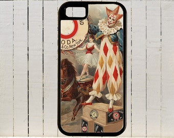 Colorful 18th Century Circus Clown in Vintage Ad  iPhone Case 4, 4s, 5, 5C, 6, 6+ and Samsung Galaxy 3, 4, 5, 6, Edge