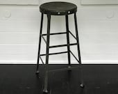 factory stool heavy duty metal stool industrial stool shop stool worn dark green stool industrial antiques