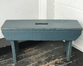 wood stool slate blue distressed wooden stool stool with worn paint supports 200 lbs with no loose joints vintage farmhouse