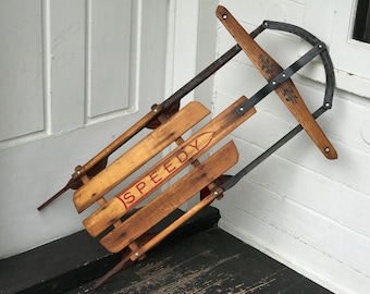 Antique Wooden Sled Etsy
