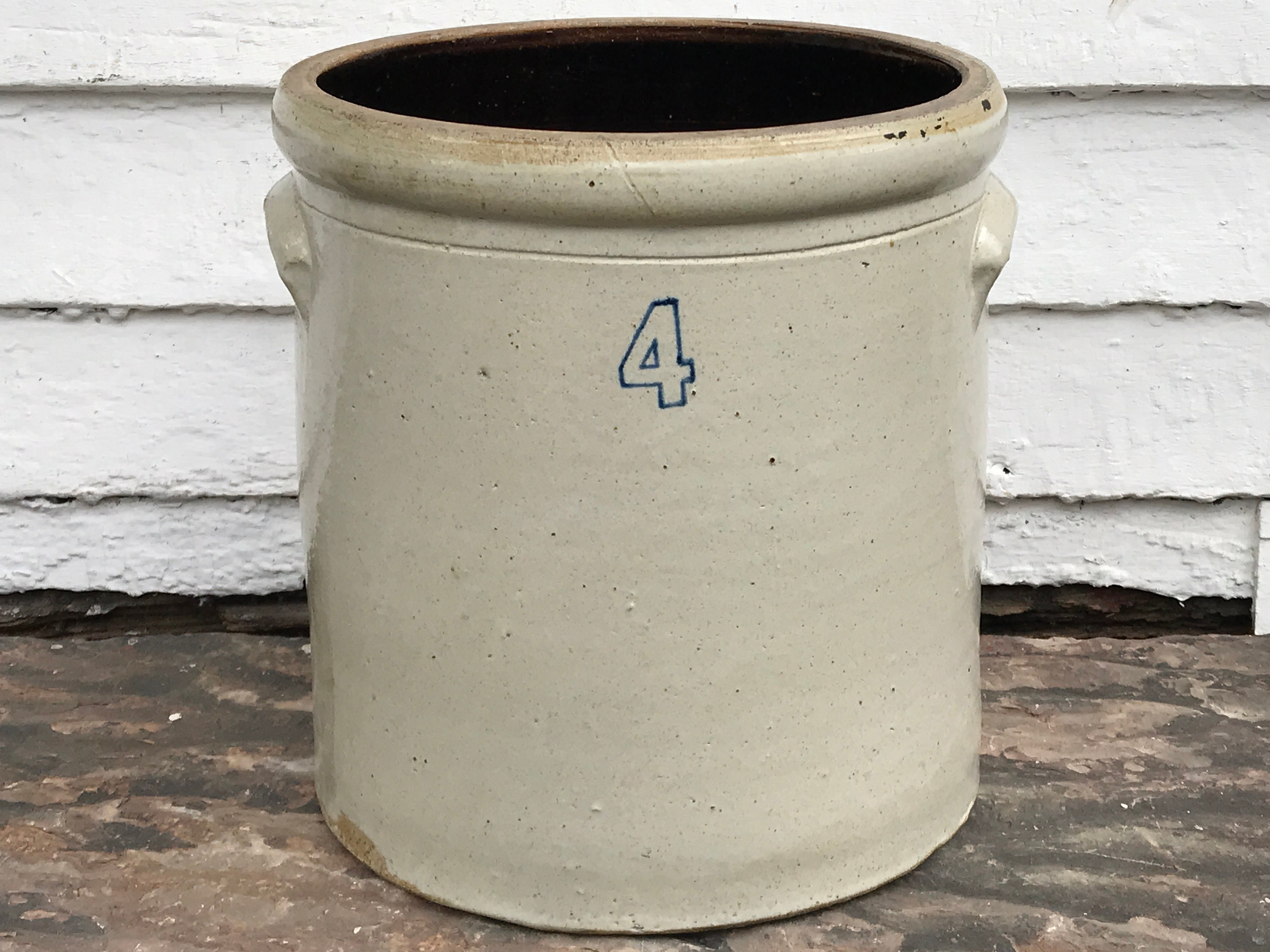 antique crock 4 gallon crock with handles pickle crock