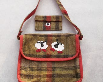Cute Purse Shoulder Bag and matching mini cosmetic pouch with  Sheep in  Boots  Applique Design. A Fully lined multi-pocket quilted bag Tote d2c6b304dbc01