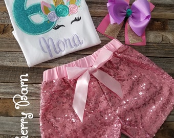 776af405 Girls Unicorn Birthday Shirt or Outfit with Light Pink Sequin Shorts or  Pants