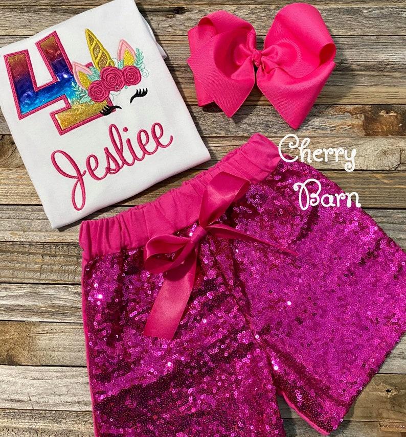 Family Shirt Option Girls Bright Rainbow Unicorn Party  Unicorn Birthday Shirt or Outfit FREE SHIPPING