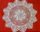 Crochet doily, crochet round doily, pineapple and swirl doily, white lacy doily, pineapple doily, table decoration , round placemat