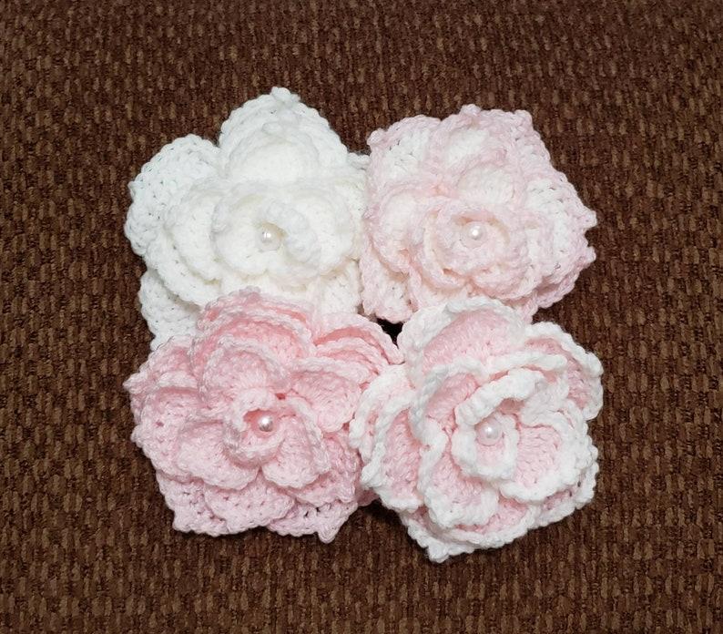 Embellishment Brooch. Glass Beads. 4 x Handmade Crochet Roses. Applique