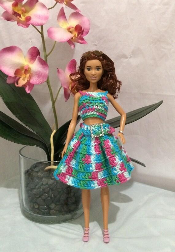 Barbie Kleding Elegante Barbie Outfit Haak Barbie Jurk De Etsy