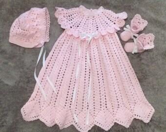 Heirloom Christening set, crochet baby blessing set, christening gown