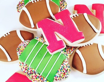 SHIPPED ~ Football Sugar Cookies ~ Sports Themed Cookies ~ College and NFL Cookies