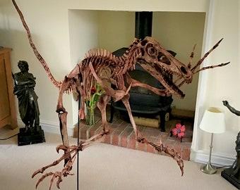TERRIFYING - 6 feet (2m) long - VELOCIRAPTOR dinosaur raptor skeleton fossil replica * life size * SPECIAL offer price!