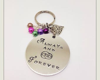 WEDDING. LOVE. FOREVER. Keyring. Circle of rings. Always and Forever. Hand stamped.