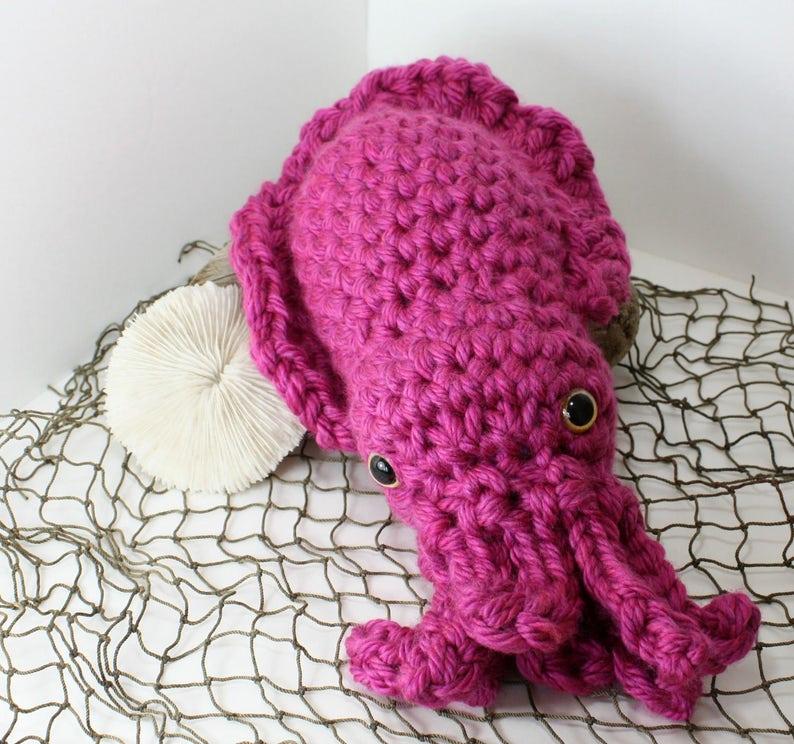 Stuffed Animal Magenta w Gold eyes Extra Large Sia the Cuttlefish