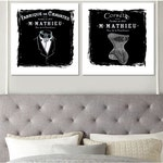 Set of 2 Prints • Black and White Vintage French Poster Style Prints • His and Hers Art Set