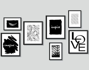 Large Wall Art Arrangement • Black and White Art Set of Prints