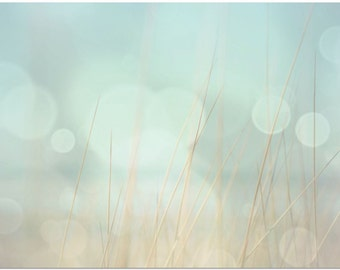 Abstract Large Wall Art - Beach Decor - Sea Green, Light Blue, and Brown Fine Art Print Also Available on Gallery Wrapped Canvas