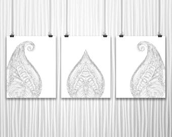 Printable Wall Art Set of 3 Prints Black and White Art Digital Download Art Minimalist Art Set of Prints