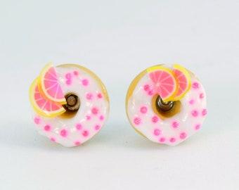 Donuts Stud pina colada, yummy earrings, sweet jewelry, stud donuts Stud Earrings, slices of grapefruit and micro beads