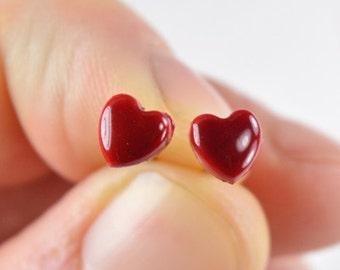 Jewelry valentine, studs earrings, gourmet gem, jewel heart Stud Earrings polymer clay Fimo