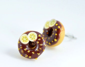 Stud Earrings donuts, donuts, polymer, dowels donuts, gourmet gem, sweet jewelry, donut chocolate and banana gourmet miniature