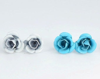 Earrings, Stud Earrings, studs, Stud Earrings, small flowers in colored metal, fancy jewelry, jewelry metal flowers