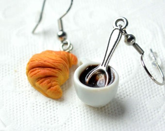 Earrings, black with his spoon and small coffee cups in polymer clay, gourmet gem, sweet jewelry