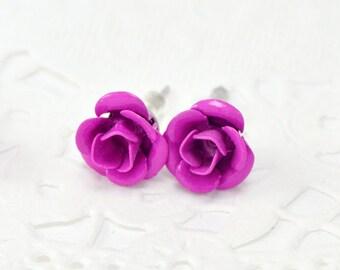 Costume jewellery, flower jewelry earrings, Stud Earrings, studs, Stud Earrings, small colorful metal flowers, pink
