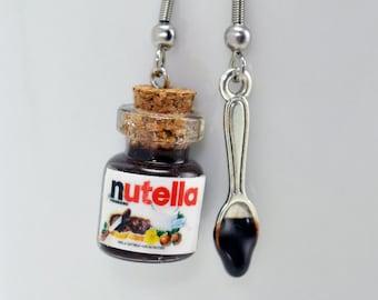 Earrings miniature Nutella jars of Nutella and Nutella sauce spoon. Cute pair of earrings gourmet