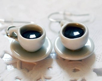 Greedy earrings, black coffee mugs, cups porcelain miniature food jewelry, cups and saucers miniature