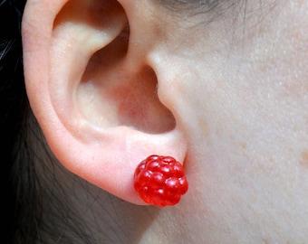 Chips ears raspberry gumdrops, miniature sweets, sweet earrings, gourmet gem, jewel, sweet, raspberry, jujube jewelry