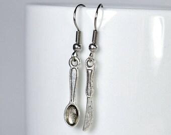 Cute pair of spoon and knife metal knife spoon jewelry earrings dangling earrings