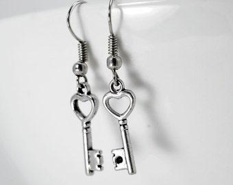 Earrings small keys, cute pair of earrings small key with heart, key and metal heart charm earrings