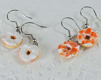 Earrings in salmon and cream cheese bagels earrings bagels polymer clay Fimo, gourmet gem, sweet jewelry polymer clay
