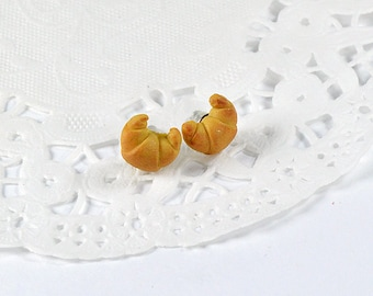 Croissant earrings polymer jewelry cute, sweet jewelry, polymer clay miniature food, gourmet creation, polymer clay Croissant