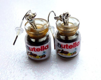 Earrings Nutella miniature Nutella jars attached to earring hooks. Cute pair of greedy earrings