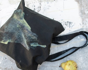 Cotton black Tote bag with OOAK handmade silk screen print of an original pear drawing by Alona Praslov