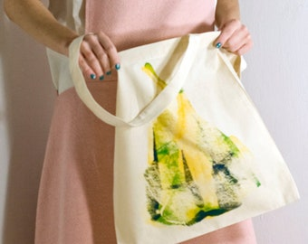 Cotton Tote bag with OOAK handmade silk screen print, original artwork by Alona Praslov
