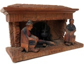 Handcarved Wood Hearth Diorama, Folk Art 3D Fireplace Scene, Made in Spain 1960, Signed With Message, Hidden Mantel Storage Box, OOAK