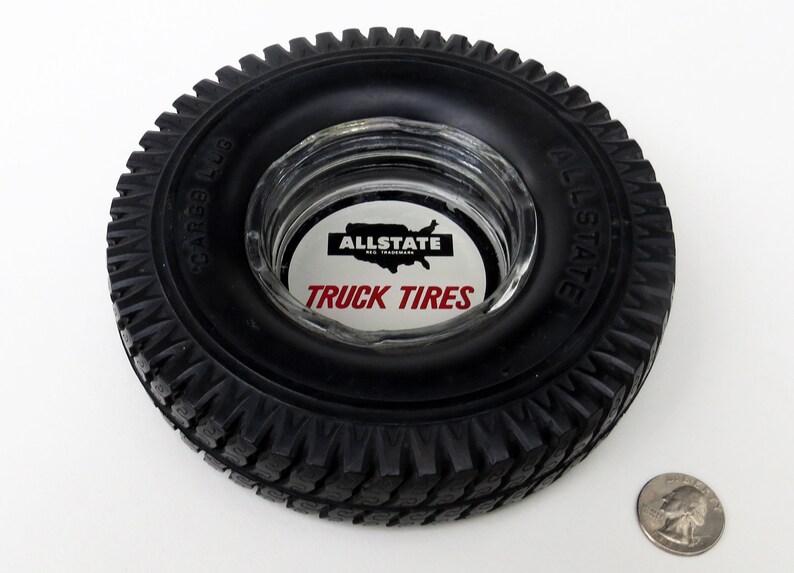 Automobilia Advertising Collectible Vintage 6.5\u201d Diameter Mini Rubber Tire /& Glass Ashtray Tire Ashtray Allstate Truck Tires Cargo Lug