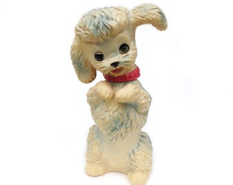 "c1962 Edward Mobley Squeaky Poodle, Working Squeaker & Sleepy Eyes, 11.75"" Arrow Rubber Begging Dog Sitting Pretty, Swivel Head, Nice Shape"