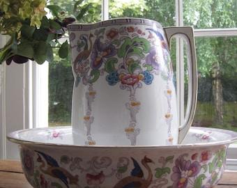 Art Nouveau Losol Ware Toiletry Bowl and Jug Set - 'Cluny'
