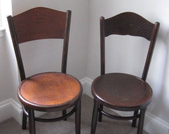 SOLD - Two Vintage Fischel Bentwood Bistro Chairs 20th Century