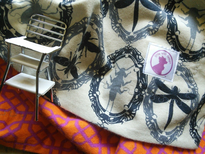 Bugs baby blanket Steam Punk Flannel Blanket-  Gretta Viv Toddler Blanket Security Blanket victoria Goth Receiving Blanket