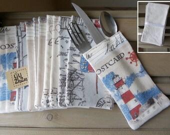 6 flatware,silverware,holder,case, bag, wallet, cutlery, table linen,fabric,marine,nautical,sea, ecru, french antique cotton linen