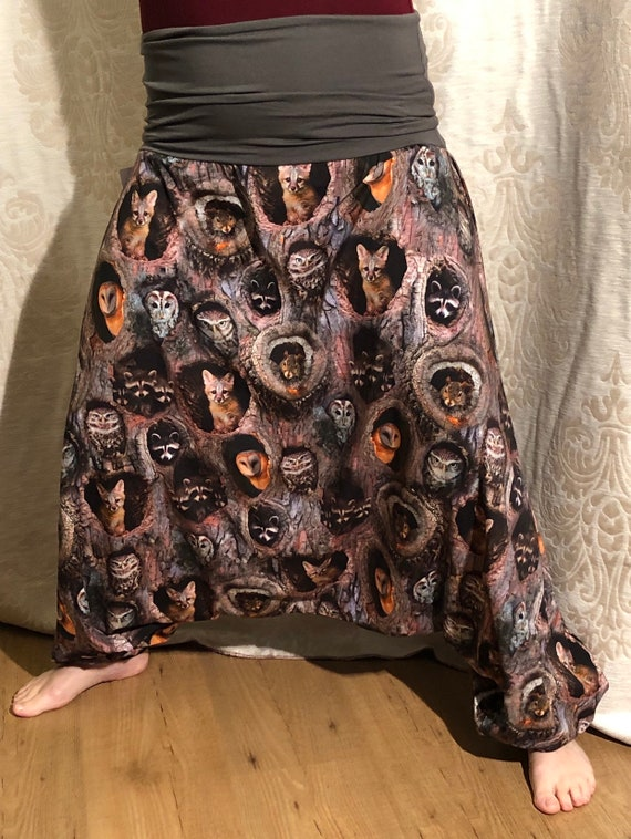 Harem pants with animals in tree. (Fox, Owl, squirrel).