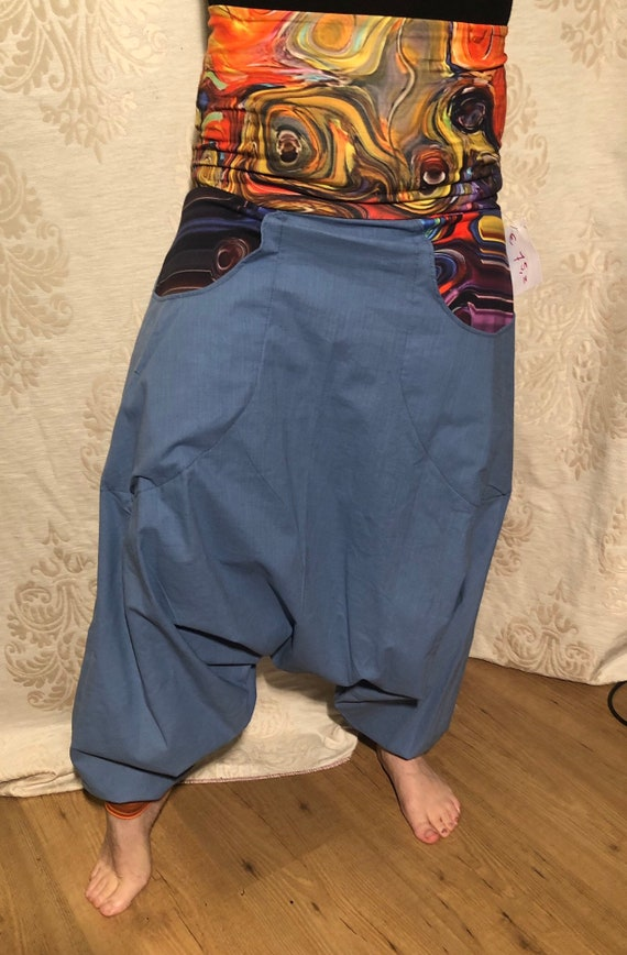 Offer!!! Blue harem pants of stretch linen & bags with digital paint print. From 65,-to 50,-euro