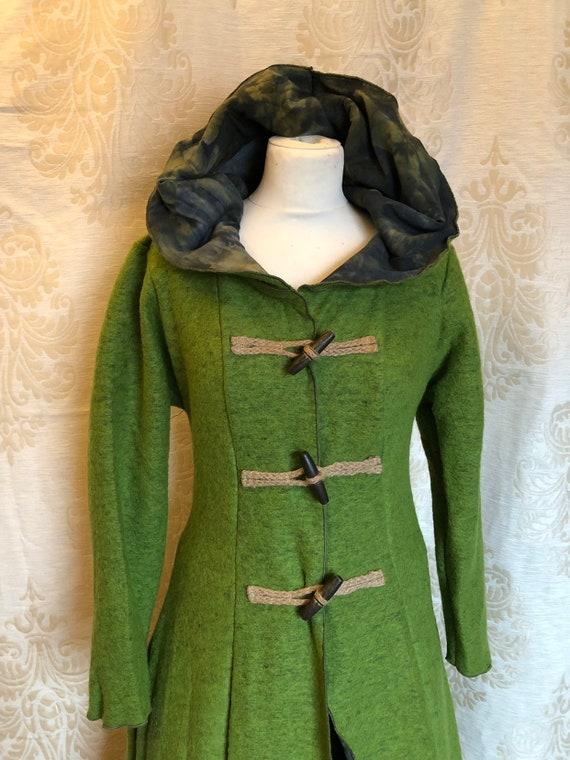 Green wool pagan winter coat with hoodie
